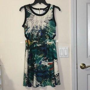 Xoxo geometric print cutout sleeveless dress